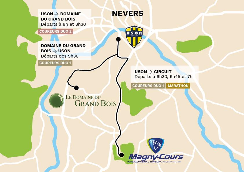 Trajet des navettes installées dans le cadre du Nevers Marathon pour permettre aux participants de rejoindre le lieu de départ